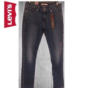 Levi's 711 Ankle Skinny Studded Jeans